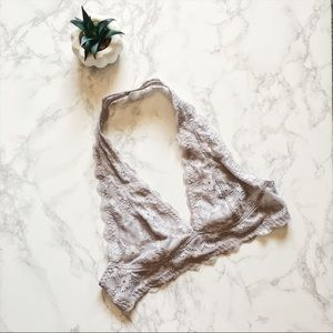 • Free People • NWOT Gray Lace Halter Bra
